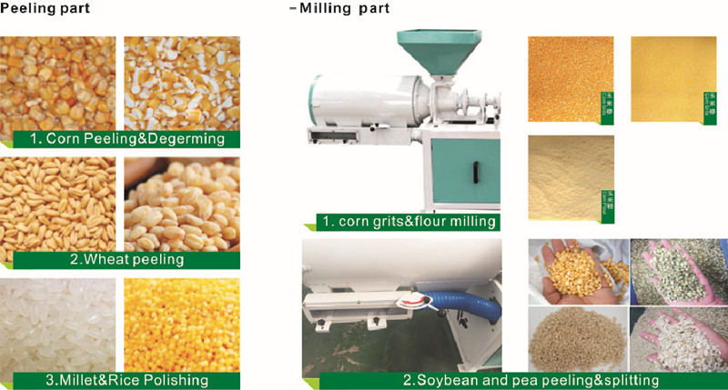 corn peeling and milling machine